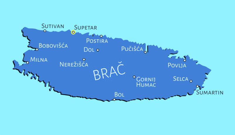 La terza più grande delle isole della Croazia, Brač è la più facile da raggiungere, con traghetti regolari che collegano (ogni ora in alta stagione) al porto di Supetar